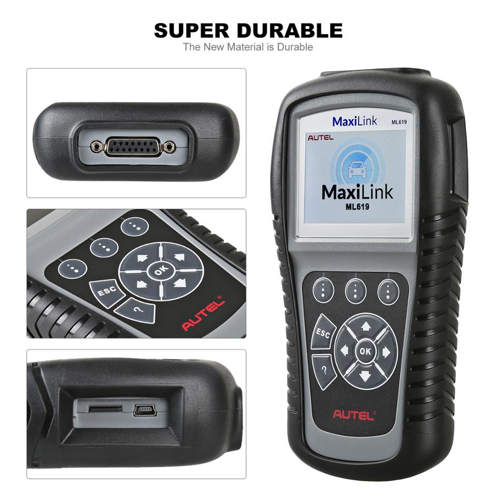 Autel MaxiLink ML619 OBD2 Scanner ABS SRS Code Read Auto Diagnostic Tool Car OBD 2 OBDII Automotive Auto Scanner PK CR6011