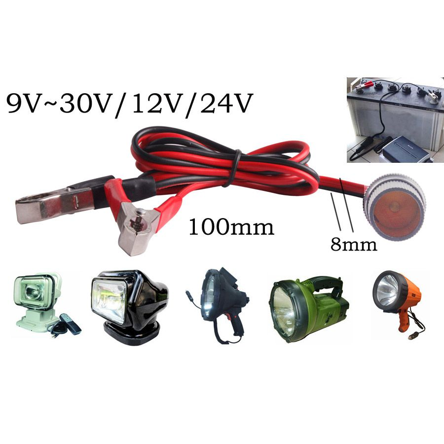 Car Truck 12V/24V Battery Terminal Clip-on Power Socket Cable Driving Light off road spotlights