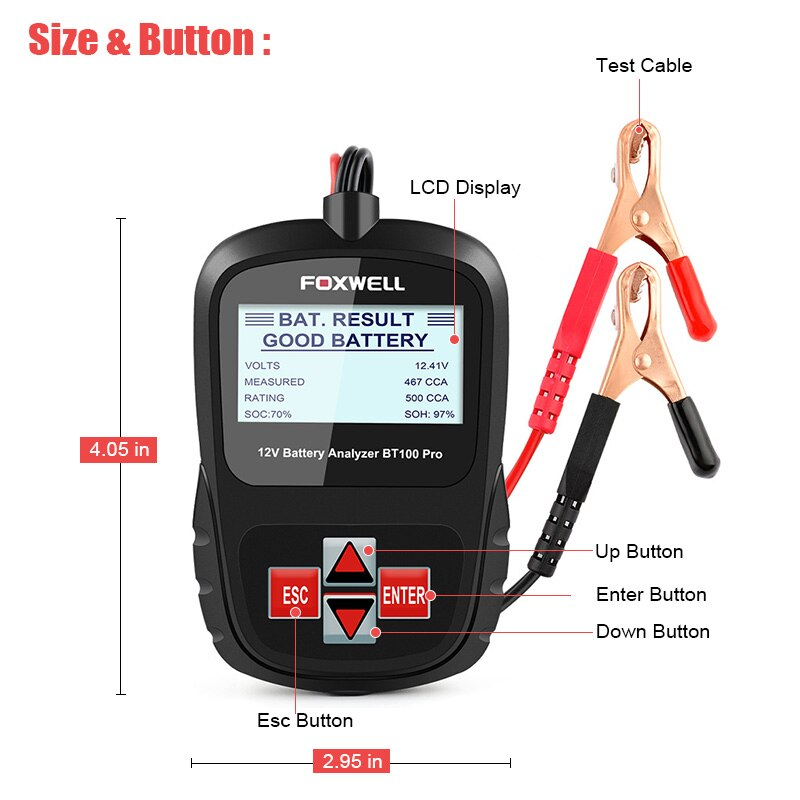 FOXWELL BT100 12V Car Battery Tester for Flooded/AGM/GEL