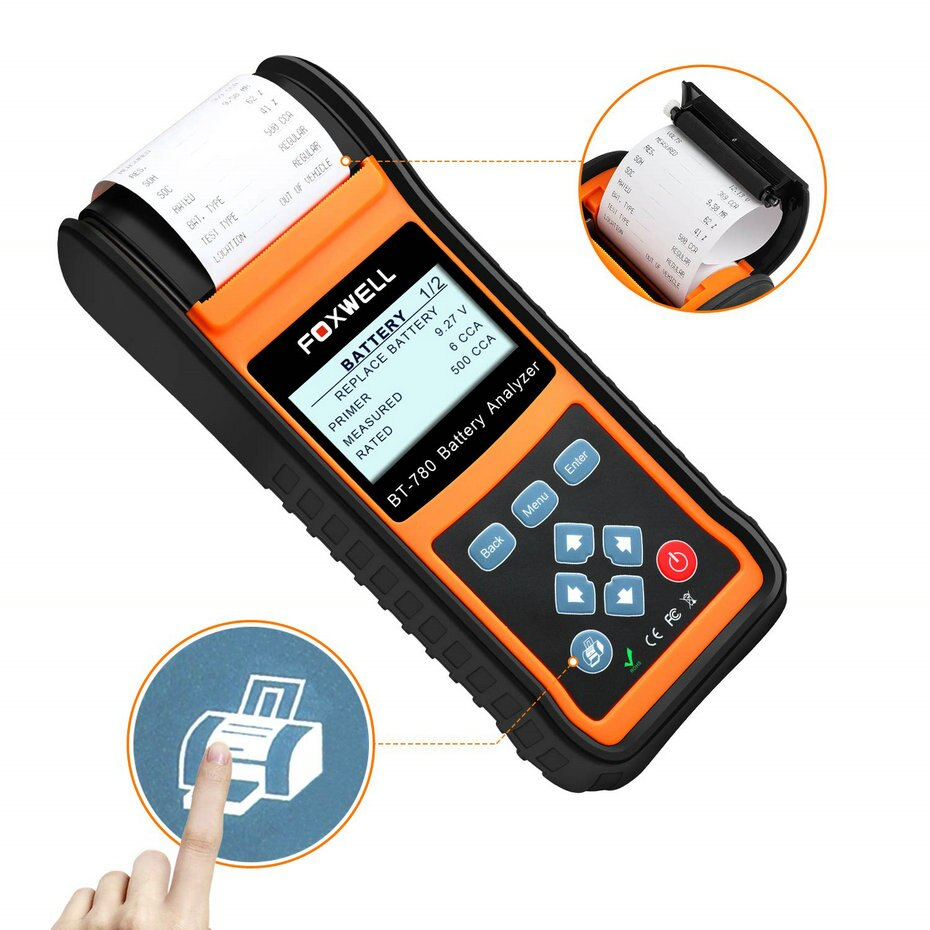 Latest Foxwell BT780 Battery Analyzer BT-780  Battery Tester with Built-in Thermal Printer