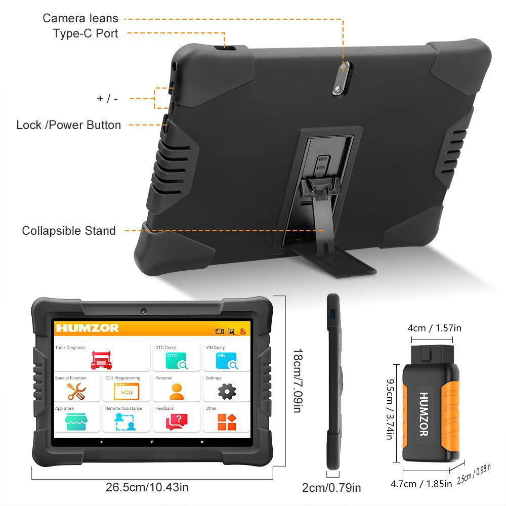 Humzor NexzDAS ND506 Plus Full Version 10 Inch Tablet for 12V-24V Diesel Commercial Vehicles Diagnostic Tool with 10 Converters