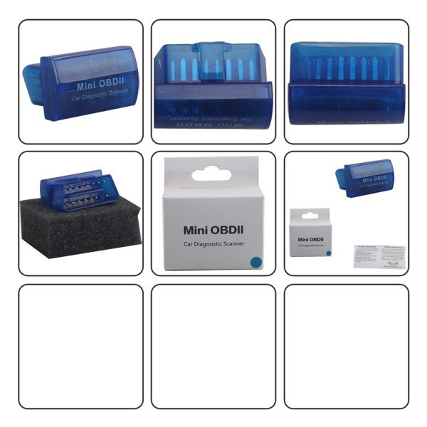 Mini OBDII Car Diagnostic Scanner for Android and Windows (Blue/Black/White)