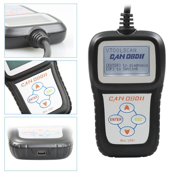 Latest Mini V581 CAN OBDII/EOBD Code Reader Free Online Update With Multilanguage