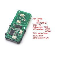 Smart card board 4 buttons 315.12MHZ number :271451-5290-Eur for Toyota