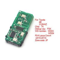 Smart card board 4 key 312MHZ number 271451-5290-JP for Toyota