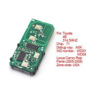 Smart card board 4 key 314.3 MHZ number 271451-0140-USA for Toyota