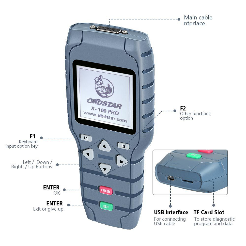 OBDSTAR X-100 X100 PRO Auto Key Programmer (C+D) Type for IMMO+Odometer+OBD Software