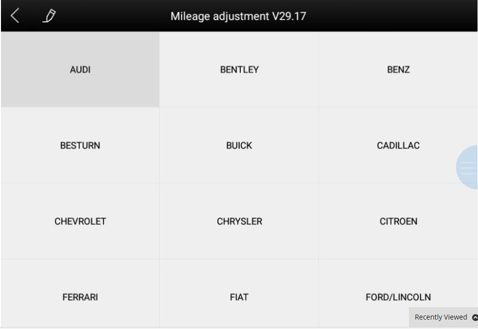 Mileage Adjustment Car List